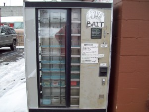 24 hour outdoor live bait vending machine located outside Fox River Bait & Tackle.